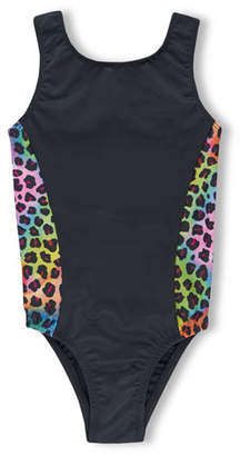 Girl Power Sport Perfect Fit Leotard w/ Rainbow Leopard Print Trim, Size 5-12