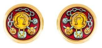 Hermes Horseshoe Motif Enamel Clip-On Earrings