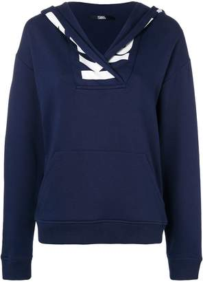 Karl Lagerfeld logo trim hoodie