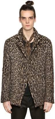 John Varvatos Leopard Double Breasted Wool Jacket