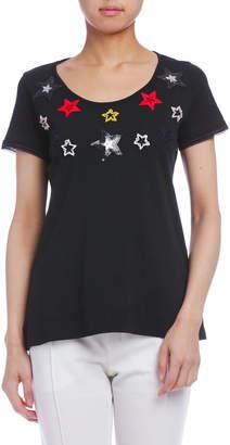 Paola Frani (パオラ フラーニ) - PAOLA FRANI スターモチーフ ラウンドネック 半袖Tシャツ ブラック m