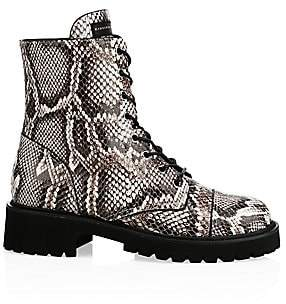 Giuseppe Zanotti Women's Snake-Print Leather Combat Boots