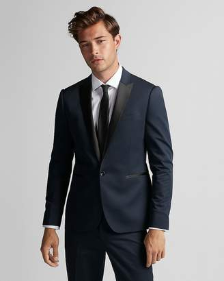 Express Extra Slim Blue Satin Peak Lapel Tuxedo Jacket