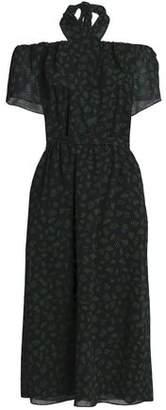Vanessa Seward Off-The-Shoulder Printed Wool-Gauze Dress