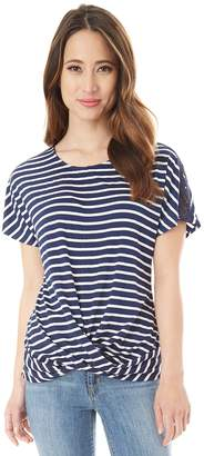 Iz Byer Juniors' Striped Twist Front Top