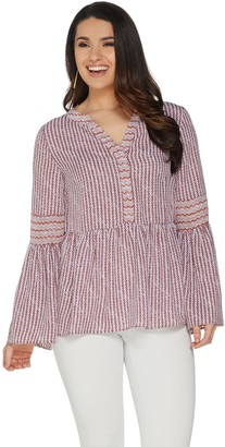 Du Jour Split V-Neck Printed Bell Sleeve Top with Ruffle Hem