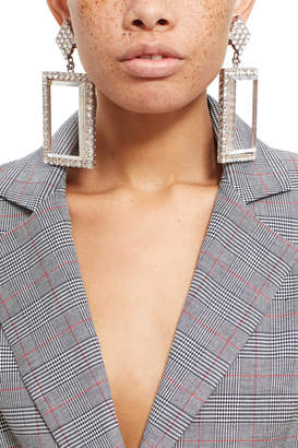 Alessandra Rich Crystal And Plexiglass Rectangle Earring