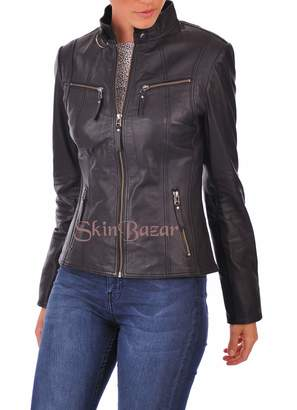 SkinBazar Womens Leather Jacket Stylish Motorcycle Genuine Lambskin 219 L