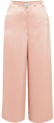 Nanushka - Pura Cropped Satin Wide-leg Pants - Blush