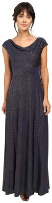 Tahari ASL Glitter Jersey Cowl Neck Gown Women's Dress