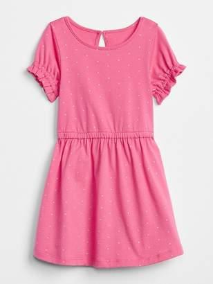 Gap Print Ruffle Cinched-Waist Dress