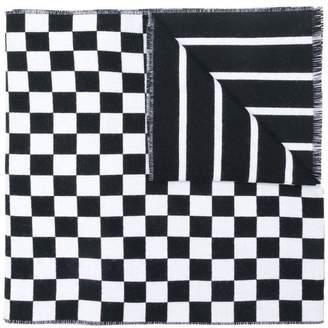 Versace logo-print check scarf