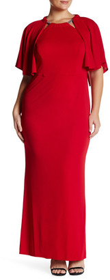 ABS by Allen Schwartz Embellished Neck Cape Gown (Plus Size) $229.97 thestylecure.com