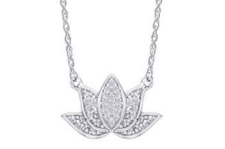 Samaira Jewelry Natural Diamond Lotus Flower Pendant Necklace in 14k Gold Plated 925 Sterling Silver For Women (0.06 Cttw