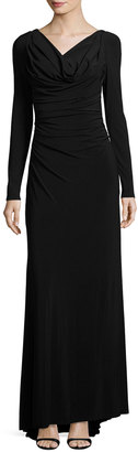Vera Wang Long-Sleeve Cowl-Neck Knit Gown $169 thestylecure.com