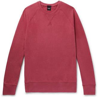 HUGO BOSS Melange Loopback Cotton-Jersey Sweatshirt - Men - Burgundy