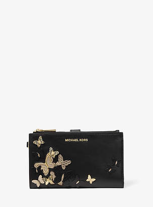 Michael Kors Adele Butterfly Embellished Leather Smartphone Wallet