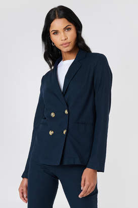 Na Kd Classic Linen Look Blazer Dark Blue