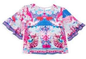 Camilla Little Girl's& Girl's Floral-Print Bell-Sleeve Top