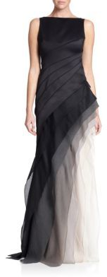 Halston Heritage Satin & Organza Tiered Degrade Gown $695 thestylecure.com