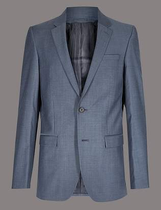 Marks and Spencer Blue Tailored Fit Wool Jacket