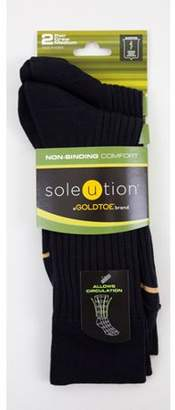 Gold Toe GOLDTOE Soleution by Non-Binding Comfort Men's Combed Cotton Crew, 2-pair Socks