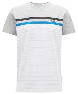 BOSS Hugo Multi-colored stripe T-shirt in mercerized cotton S White