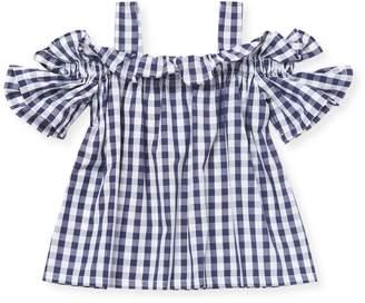 Il Gufo Little Girl's Cold-Shoulder Plaid Top