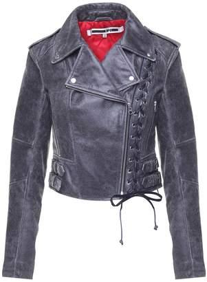 McQ Lace-up Leather Biker Jacket