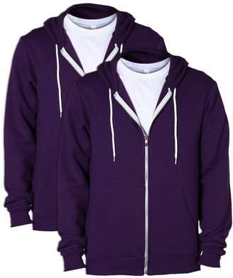 American Apparel Men Flex Fleece Two-Tone Zip Hoodie