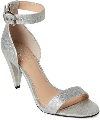 Vince Camuto Radiant Silver Cashane Ankle Strap Glitter Sandals