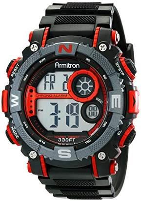 Armitron Sport Men's 40/8284 Large Metallic Accented Black Resin Strap Chronograph Digital Watch