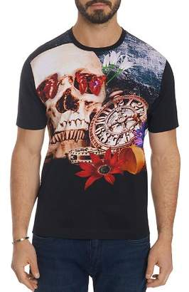 Robert Graham Skull & Mixed-Graphic Crewneck Tee