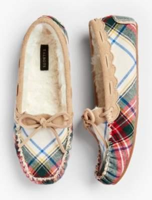Talbots Ruby Moccasin Slippers - Tartan Plaid