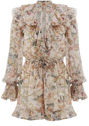 Zimmermann Painted Heart Cascade Playsuit in Peach Tapestry