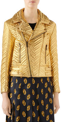 Gucci Quilted Metallic Soft-Leather Biker Jacket