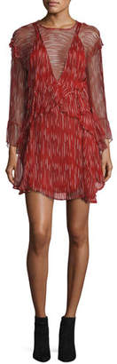 IRO Canyon Long-Sleeve Ruffled Dress, Red/White