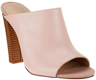 Halston H by Open-Toe Leather Mules w/ StackedHeel - Kendra