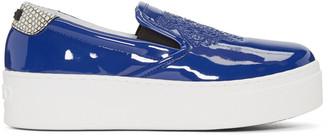 Kenzo Blue Patent Platform Sneakers $325 thestylecure.com