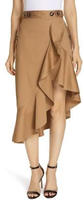 Self-Portrait Ruffle Trim Canvas Skirt