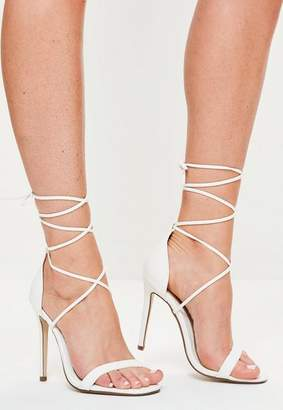 Missguided Lace Up Barely There Heeled Sandals White Croc
