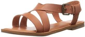 Rampage Women's Matina Criss Cross Ankle Strap Open Toe Flat Sandal with Memory Foam