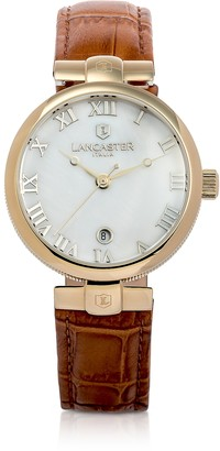 Lancaster Chimaera Yellow Gold Stainless Steel and Brown Croco Leather Watch