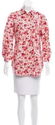 Lela Rose Floral Button-Up Top