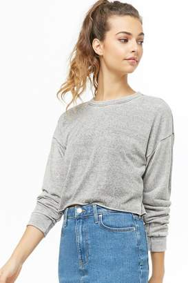 Forever 21 Heathered Raw-Cut Crop Top
