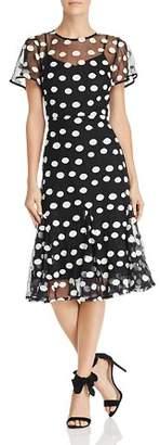 Nanette Lepore nanette Short Sleeve Dot-Embroidered Mesh Dress