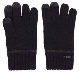 BOSS Hugo Knitted gloves Touch Tech tips One Size Dark Blue