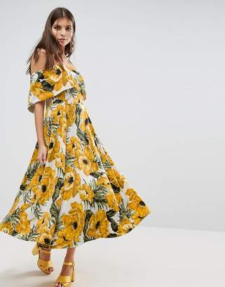 ASOS Golden Floral Bardot Midi Dress $108 thestylecure.com