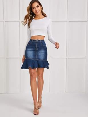 Shein Flounce Hem Button Front Pocket Denim Skirt
