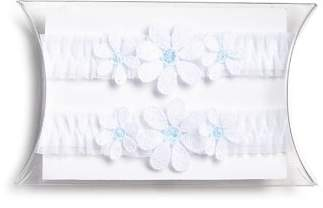 Skarlett Blue Marguerite Floral Mesh Garters, Set of 2